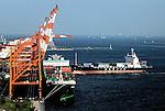 Cargo ships by loading cranes in Tokyo Bay, Tokyo, Japan.