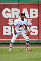 Peoria Chiefs outfielder Kenneth Peoples-Walls (13) during a game against the Kane County Cougars on June 2, 2014 at Dozer Park in Peoria, Illinois.  Peoria defeated Kane County 5-3.  (Mike Janes/Four Seam Images)
