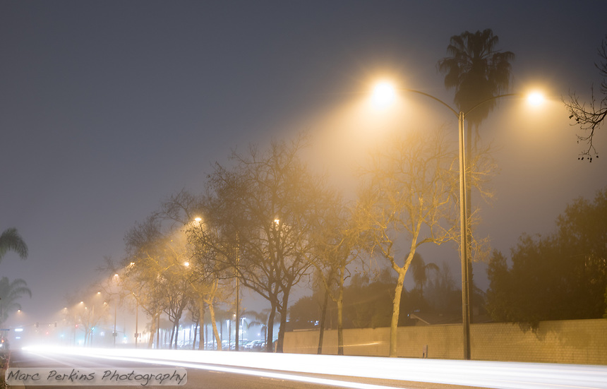 Fog obscures the trees and streetlights of Harbor Boulevard in this single-frame-capture long-exposure night image.  A lone car drives past the camera, creating a long white streak that frames the bottom of the image.
