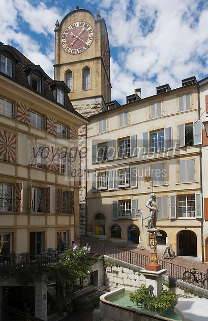 Europe/Suisse/Jura Suisse/ Neuchatel: Rue du Château et Tour de Diesse