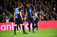 6th November 2019, Paris France; UEFA Champions league football, Paris St German versus Brugges;   Simon Deli Bruges chats to team mate Mechele