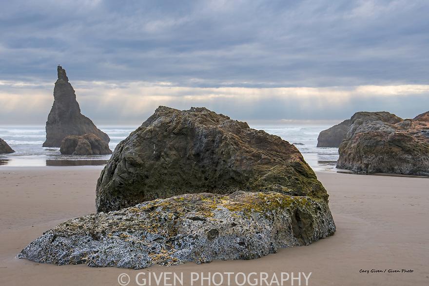 Sea stack and sunbeams, Oregon