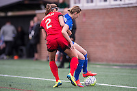 Allston, MA - Sunday, May 1, 2016:  Portland Thorns FC defender Katherine Reynolds (2) and Boston Breakers midfielder Louise Schillgard (10) in a match at Harvard University.