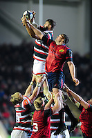 Ed Slater of Leicester Tigers wins the ball at a lineout. European Rugby Champions Cup match, between Leicester Tigers and Munster Rugby on December 17, 2016 at Welford Road in Leicester, England. Photo by: Patrick Khachfe / JMP