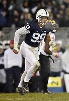 STATE COLLEGE, PA - NOVEMBER 24: Penn State DE Yetur Gross-Matos (99) rushes the quarterback during the Maryland Terrapins vs. the Penn State Nittany Lions November 24, 2018 at Beaver Stadium in State College, PA. (Photo by Randy Litzinger/Icon Sportswire)
