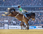 Caine Riddle, Delta Ship, Frontier Rodeo, during the RFDTV American. Photo by Andy Watson