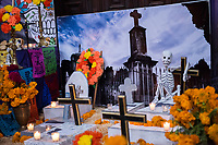 Mexico, Mexico City. Day of the Dead, Dia de los Muertos diorama.