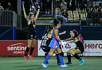 Olivia Merry celebrates a goal during the World Hockey League quarter final match between Argentina and New Zealand. North Harbour Hockey Stadium, Auckland, New Zealand. Wednesday 22 November 2017. Photo:Simon Watts / www.bwmedia.co.nz