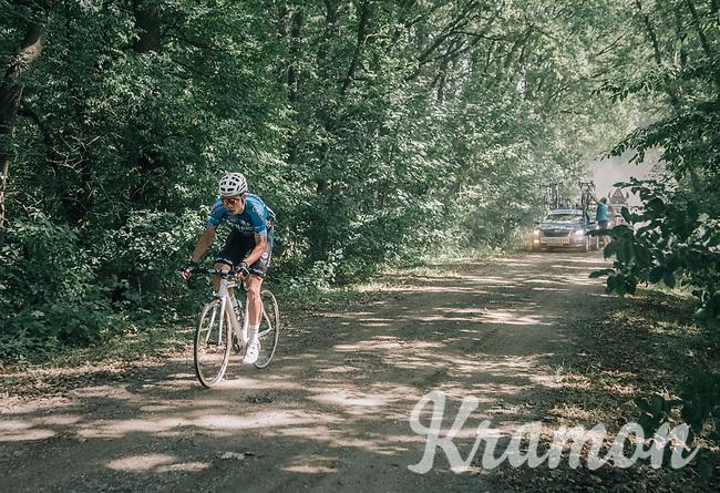 Wout van Aert (BEL/Vérandas Willems-Crelan) thrown back due to a mechanical (in a section where teamcars weren't allowed to follow) forced to continue on a neutral bike<br /> <br /> 92nd Schaal Sels 2017 <br /> 1 Day Race: Merksem > Merksem (188km)