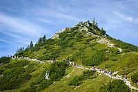 Deutschland, Bayern, Oberbayern, Berchtesgadener Land, Schoenau am Koenigssee: Aufstieg zum Jenner - an schoenen Tagen herrscht schon mal grosser Andrang | Germany, Upper Bavaria, Berchtesgadener Land, Schoenau am Koenigssee: climb to Jenner summit