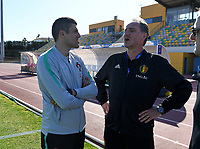 20200307  Parchal , Portugal : Portugese head coach Francisco Neto pictured with Belgian assistant coach Kris Van Der Haegen during the female football game between the national teams of Belgium called the Red Flames and Portugal on the second matchday of the Algarve Cup 2020 , a prestigious friendly womensoccer tournament in Portugal , on saturday 7 th March 2020 in Parchal , Portugal . PHOTO SPORTPIX.BE | DAVID CATRY