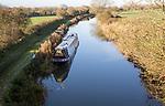 Narrowboat on Kennet and Avon canal, Woodborough, Wiltshire, England, UK