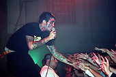 Jordan Pundik (vocals) of New Found Glory performs at Harro East Ballroom in Rochester, New York circa October 31, 2001.  Photo Copyright Mike Janes Photography
