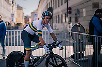 Lucas Plapp (AUS)<br /> <br /> post-race battlefield in the finish zone<br /> <br /> MEN JUNIOR INDIVIDUAL TIME TRIAL<br /> Hall-Wattens to Innsbruck: 27.8 km<br /> <br /> UCI 2018 Road World Championships<br /> Innsbruck - Tirol / Austria