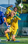 18 September 2013: University of Vermont Catamount Forward Bernard Yeboah, a Freshman from Worcester, MA, kicks over the head of teammate Defenseman Scott Kisling, a Senior from Colorado Springs, CO, and scores against the Hofstra University Pride at Virtue Field in Burlington, Vermont. The Catamounts defeated the visiting Pride 2-1. Mandatory Credit: Ed Wolfstein Photo *** RAW (NEF) Image File Available ***