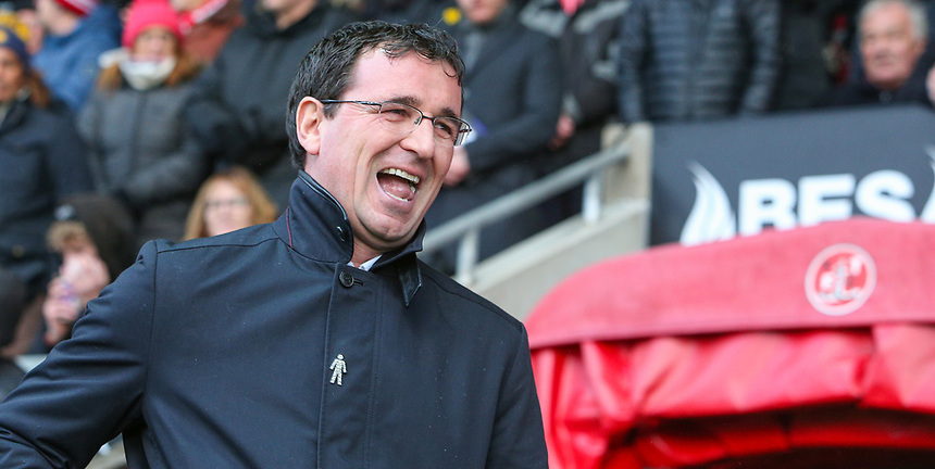 Blackpool manager Gary Bowyer<br /> <br /> Photographer Alex Dodd/CameraSport<br /> <br /> The EFL Sky Bet League One - Fleetwood Town v Blackpool - Saturday 25th November 2017 - Highbury Stadium - Fleetwood<br /> <br /> World Copyright &copy; 2017 CameraSport. All rights reserved. 43 Linden Ave. Countesthorpe. Leicester. England. LE8 5PG - Tel: +44 (0) 116 277 4147 - admin@camerasport.com - www.camerasport.com