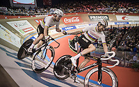 Sir Bradley Wiggins (GBR/Wiggins) slings Mark Cavendish (GBR/Dimension Data) around the track<br /> <br /> <br /> 2016 Gent 6<br /> day 4