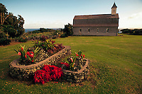 Scenic view of the exterior of St. Joseph Church. Kaupo, Maui, Hawaii.