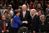 United States Supreme Court nominee Elena Kagan, President Obama's pick to replace retiring Justice John Paul Stevens, shakes hands with U.S. Senator Jeff Sessions (Republican of Alabama) as U.S. Senator Patrick Leahy (Democrat of Vermont) looks on at the start of the first day of her confirmation hearing before the Senate Judiciary Committee on Capitol Hill in Washington on Monday, June 28, 2010.    .Credit: Win McNamee - Pool via CNP.