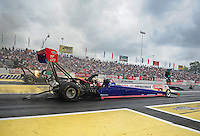 Jun. 1, 2012; Englishtown, NJ, USA: NHRA top fuel dragster driver Ike Maier during qualifying for the Supernationals at Raceway Park. Mandatory Credit: Mark J. Rebilas-