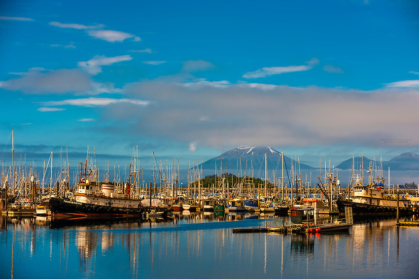 Harbor in Sitka (on Baranof Island) with Mt. Edgecumbe (on Kruzof Island) in background, southeast Alaska USA.