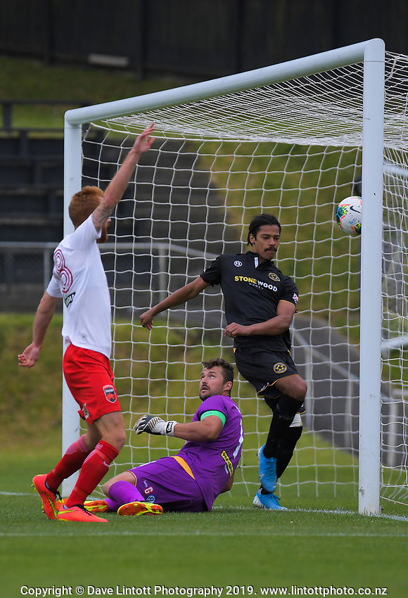 Action from the ISPS Handa Premiership football match between Team Wellington and Canterbury United Dragons at David Farrington Park in Wellington, New Zealand on Sunday, 1 December 2019. Photo: Dave Lintott / lintottphoto.co.nz
