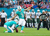 04.10.2015. Wembley Stadium, London, England. NFL International Series. Miami Dolphins versus New York Jets. Miami Dolphins Kicker Andrew Franks scores a field goal.