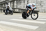 Geraint Thomas (WAL) Team Sky in action before crashing during the opening Prologue of the 2018 Criterium du Dauphine running 6.6km around Valence, France. 3rd June 2018.<br /> Picture: ASO/Alex Broadway | Cyclefile<br /> <br /> <br /> All photos usage must carry mandatory copyright credit (&copy; Cyclefile | ASO/Alex Broadway)