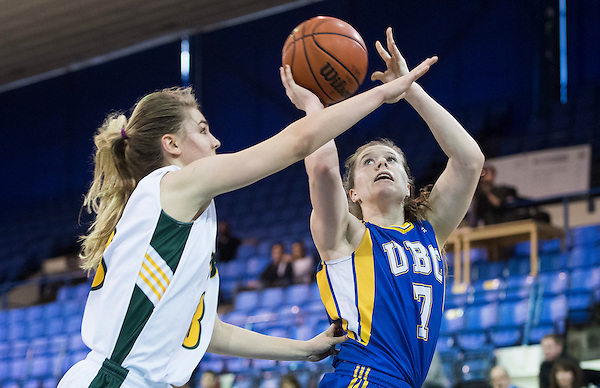 VANCOUVER,BC:FEBRUARY 18, 2017 -- UBC Thunderbirds University of Northern BC Timberwolves during U Sports Canada West women's basketball playoff action at UBC in Vancouver, BC, February, 18, 2017. (Rich Lam/UBC Athletics Photo) <br /> <br /> ***MANDATORY CREDIT***