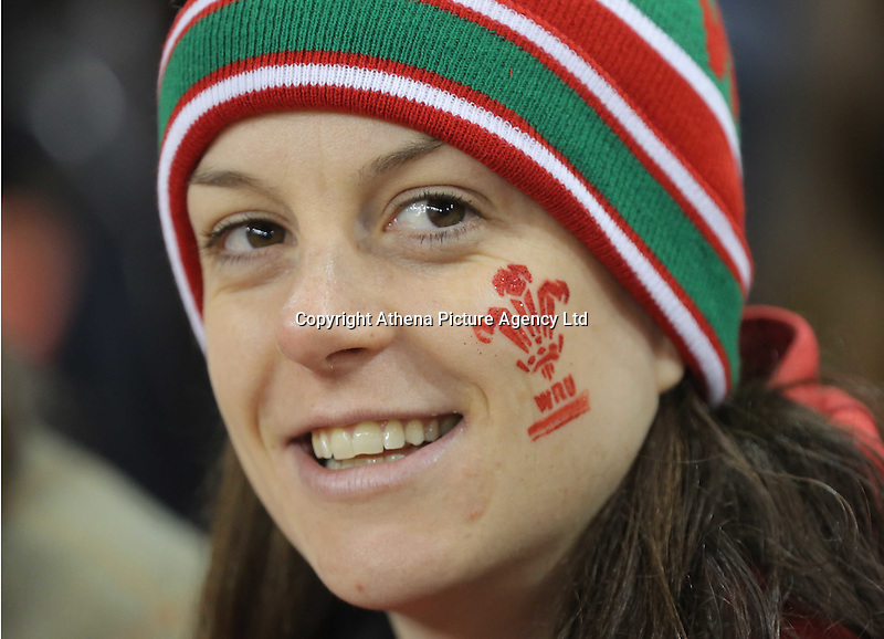 A Wales supporters before the Wales v France, 2016 RBS 6 Nations Championship, at the Principality Stadium, Cardiff, Wales, UK