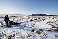J.Little on Trail to Shaktoolik Near Bering Sea<br /> Tripod Mileage Marker
