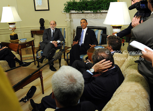 United States President Barack Obama speaks to the media after meeting with Federal Reserve Board Chairman Ben Bernanke in the Oval Office of the White House in Washington on Tuesday, June 29, 2010.   .Credit: Roger L. Wollenberg - Pool via CNP