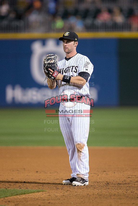 Charlotte Knights first baseman Matt Davidson (22) on defense against the Syracuse Chiefs at BB&T BallPark on June 1, 2016 in Charlotte, North Carolina.  The Knights defeated the Chiefs 5-3.  (Brian Westerholt/Four Seam Images)
