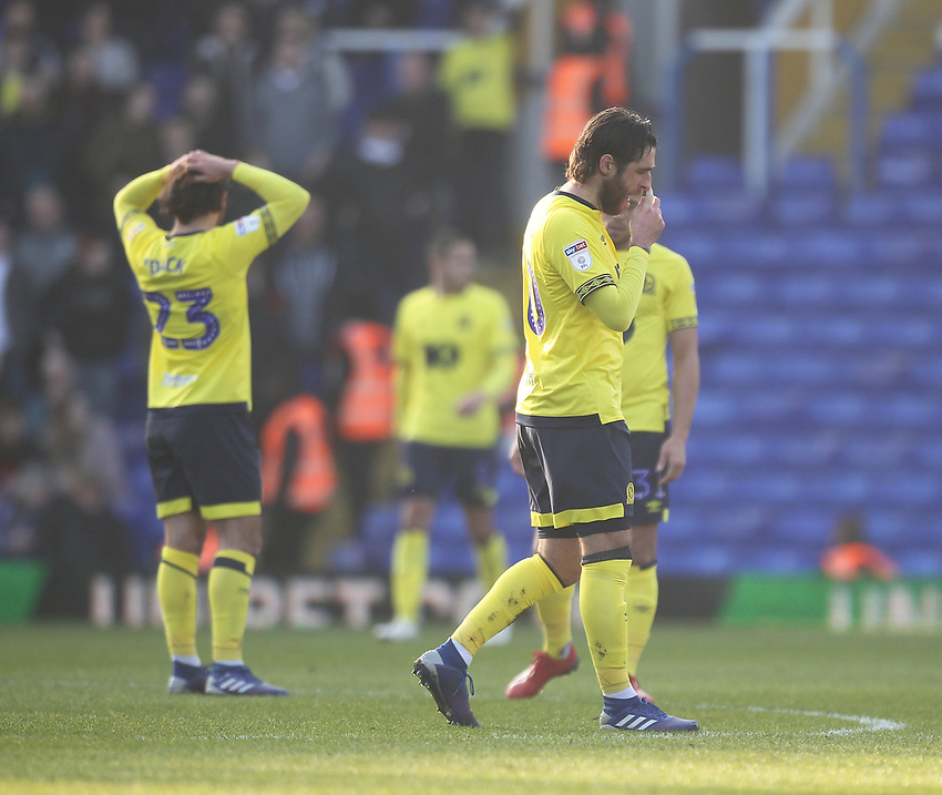Blackburn Rovers players look dejected<br /> <br /> Photographer Mick Walker/CameraSport<br /> <br /> The EFL Sky Bet Championship - Birmingham City v Blackburn Rovers - Saturday 23rd February 2019 - St Andrew's - Birmingham<br /> <br /> World Copyright © 2019 CameraSport. All rights reserved. 43 Linden Ave. Countesthorpe. Leicester. England. LE8 5PG - Tel: +44 (0) 116 277 4147 - admin@camerasport.com - www.camerasport.com