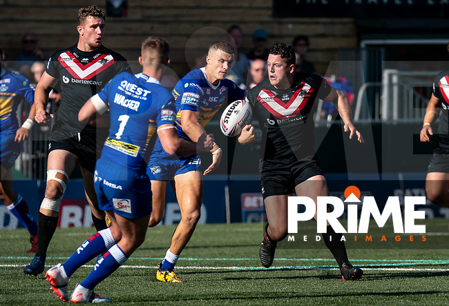 Match action during the Betfred Super League match between London Broncos and Leeds Rhinos at Castle Bar , West Ealing , England  on 1 September 2019. Photo by Liam McAvoy.