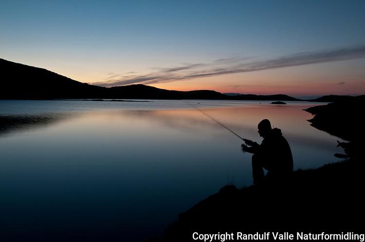 Mann fisker i Langvatnet på Sørøya ved solnedgang. ---- Man angling in Langvatnet, Sørøya.