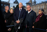 Harry Dunn's parents Charlotte Charles and Tim Dunn either side of Family spokesperson, Radd Seiger, give a press conference after a  meeting with the Foreign Secretary, Dominic Raab. They are seeking justice for their son who was killed in a car accident on August 27th. Anne Sacoolas who was involved in the crash has fled to the USA claiming diplomatic immunity.<br />  Harry Dunn's parents meet Dominic Raab.