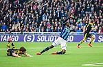 Stockholm 2015-05-25 Fotboll Allsvenskan Djurg&aring;rdens IF - AIK :  <br /> Djurg&aring;rdens Nyasha Mushekwi faller i straffomr&aring;det efter en n&auml;rkamp med AIK:s Sauli V&auml;is&auml;nen under matchen mellan Djurg&aring;rdens IF och AIK <br /> (Foto: Kenta J&ouml;nsson) Nyckelord:  Fotboll Allsvenskan Djurg&aring;rden DIF Tele2 Arena AIK Gnaget