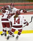 Jillian Dempsey (Harvard - 14), Kelsey Romatoski (Harvard - 5), Liza Ryabkina (Harvard - 3) - The Harvard University Crimson defeated the Boston College Eagles 5-0 in their Beanpot semi-final game on Tuesday, February 2, 2010 at the Bright Hockey Center in Cambridge, Massachusetts.