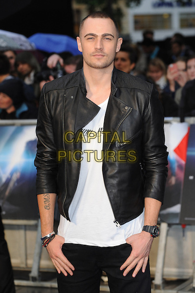 Charlie Brown<br /> 'Man Of Steel' UK film premiere, Empire cinema, Leicester Square, London, England.<br /> 12th June 2013<br /> half length top black white jacket leather <br /> CAP/BEL<br /> &copy;Tom Belcher/Capital Pictures
