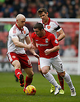 Conor Sammon of Sheffield Utd tackles John Fleck of Coventry City - English League One - Sheffield Utd vs Coventry City - Bramall Lane Stadium - Sheffield - England - 13th December 2015 - Pic Simon Bellis/Sportimage-