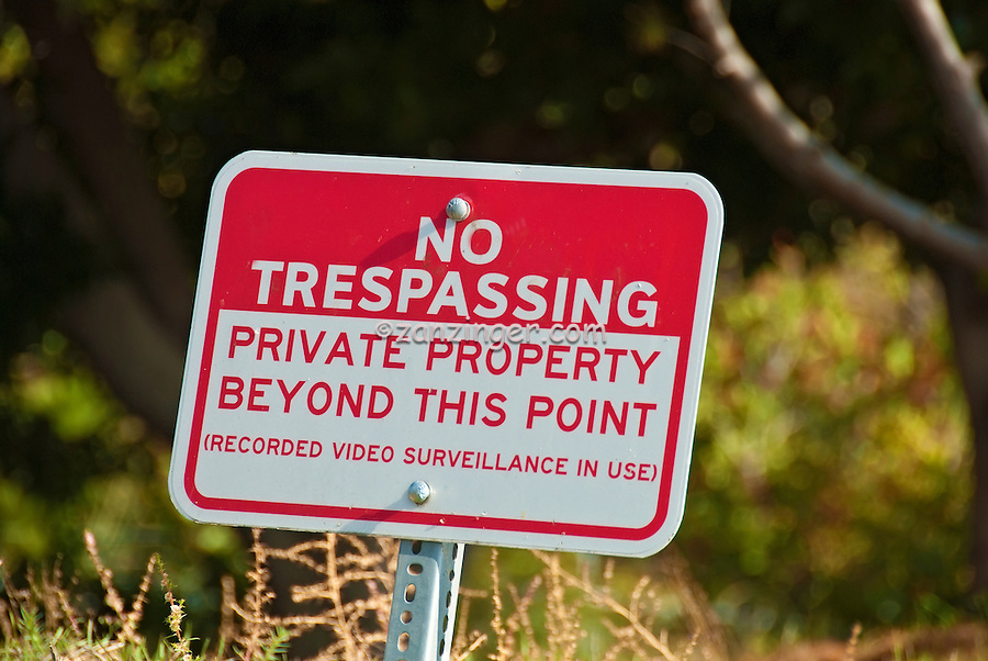 No Trespassing, Private Property beyond this Point Sign, Red & White