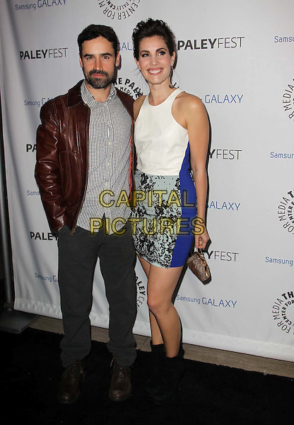 Jesse Bradford, Carly Pope.PaleyFest Icon Award 2013 Held At The Paley Center for Media, Beverly Hills, California, USA..February 27th, 2013.full length grey gray shirt brown leather jacket beard facial hair white sleeveless blue jeans denim lace ankle boots dress.CAP/ADM/KB.©Kevan Brooks/AdMedia/Capital Pictures.