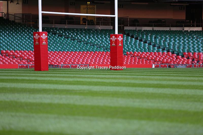 Monday 3 November 2014<br /> Pictured: Millennium Stadium<br /> Re: WRU unveils new hybrid pitch at the Millennium Stadium, Cardiff.