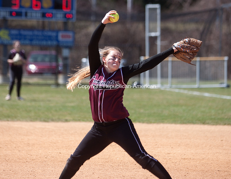 SEYMOUR CT- APRIL 15 2015 040815DA02- Torrington's Ali DuBois delivers a pitch during their NVL matchup against Seymour on Wednesday.Darlene Douty Republican American