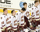 Jimmy Hayes (BC - 10), Barry Almeida (BC - 9), Edwin Shea (BC - 8), Isaac MacLeod (BC - 7), Patrick Wey (BC - 6) - The Boston College Eagles defeated the visiting Merrimack College Warriors 3-2 on Friday, October 29, 2010, at Conte Forum in Chestnut Hill, Massachusetts.