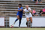 19 August 2016: Duke's Mia Gyau (left) and Wofford's Rachel Fenner (13). The Duke University Blue Devils played the Wofford College Terriers in a 2016 NCAA Division I Women's Soccer match. Duke won the game 9-1.