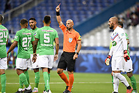 24th July 2020, Stade de France, Paris, France; French football Cup Final, Paris Saint Germain versus  St Ertienne;  AMAURY DELERUE refereee, presents the red card to LOIC PERRIN (ASSE)