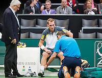 12-02-13, Tennis, Rotterdam, ABNAMROWTT,Thiemo de Bakker, Medical attention