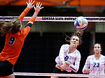 November 22, 2019; Rapid City, SD, USA; Sydney Wambach #6 of Sioux Falls O'Gorman attempts a kill past Emily Dale #9 of Huron at the 2019 South Dakota State Volleyball Championships at the Rushmore Plaza Civic Center in Rapid City, S.D. (Richard Carlson/Inertia)
